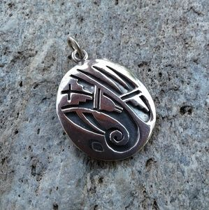 Sterling silver etched design pendant
